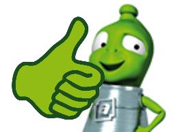 Palec nahoru zelenému mimozemšťanovi
